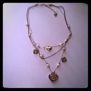 Betsey Johnson Leopard print layer necklace